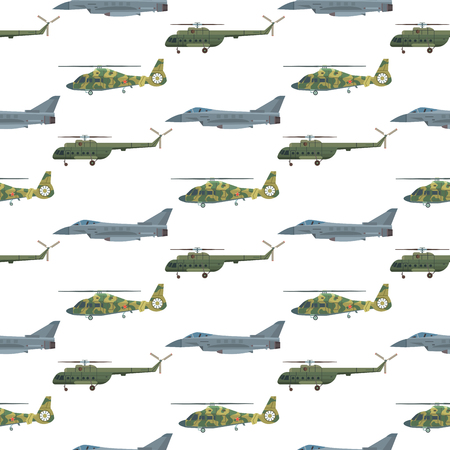 Military transport vector helicopter technic army war plane and industry armor defense transportation weapon illustration seamless pattern background.