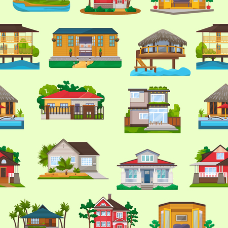 Villa vector facade of house building and tropical resort hotel on ocean beach in paradise illustration set of bungalow in village seamless pattern background. Фото со стока - 104195042
