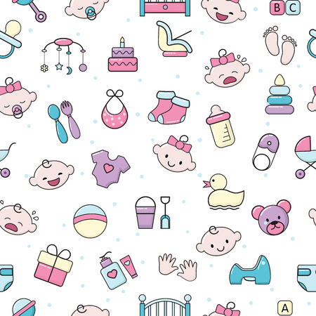 Baby icons vector kids toy for infant boys or girls in babyroom and childs bottle or stroller illustration set of children signs bed for newborn seamless pattern background. Illustration