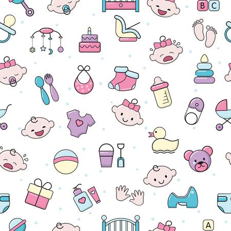 Babyikonenvektorkinderspielzeug für Säuglingsjungen oder -mädchen im Babyzimmer und Kinderflasche oder Kinderwagenillustrationssatz Kinderzeichenbett für Neugeborenen nahtlosen Musterhintergrund. Vektorgrafik