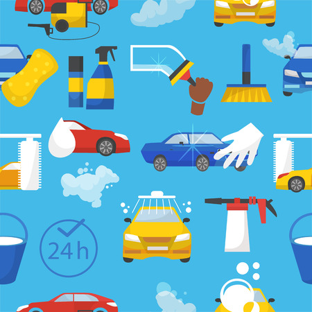 Car wash vector car-washing service with people cleaning auto or vehicle illustration set of car-wash and characters washers or cleaners polishing automobile seamless pattern background Illustration