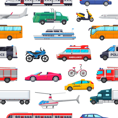 Transport vector public transportable vehicle plane or train and car or bicycle for transportation in city illustration set of ambulance fire-engine and police car seamless pattern background. Illustration