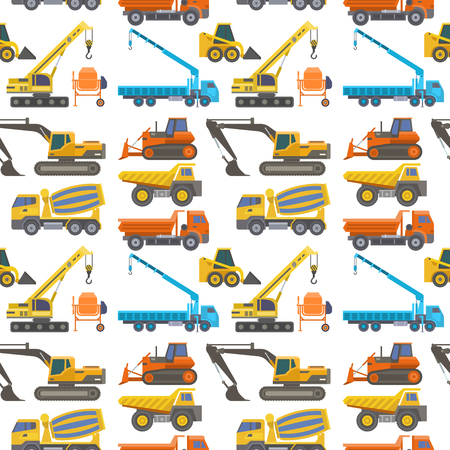 Construction delivery truck vector transportation vehicle construct and road trucking machine equipment. Dumper business truck cargo sand container industrial car seamless pattern background. Ilustracja