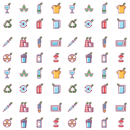 Waste vector rubbish pollution ecology recycling outline eco energy concept environment trash seamless pattern background vector illustration. Ecological conservation debris reduce protection.