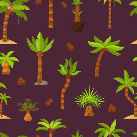 Palma vector palmaceous tropical tree with coconut or green exotic leafs and palmetto on tropic beach illustration set seamless pattern background.