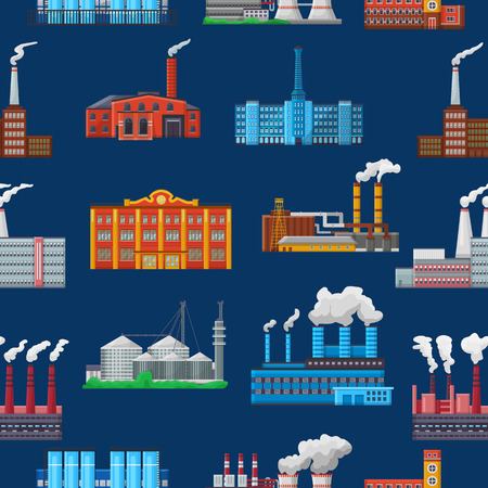 Factory vector industrial building and industry or manufacture with engineering power illustration set of manufacturing construction producing energy or electricity seamless pattern background.