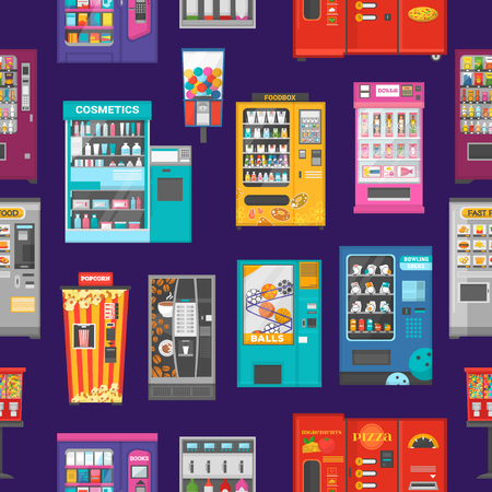Vending machine vector vend food or beverages and vendor machinery technology to buy snack or drinks illustration set seamless pattern background.