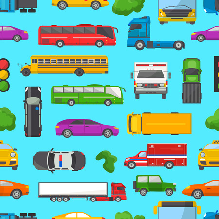 Traffic jam vector transport car vehicle and bus in the rush hour on highway road vector illustration set of transportation congestion of automobiles in jammed line