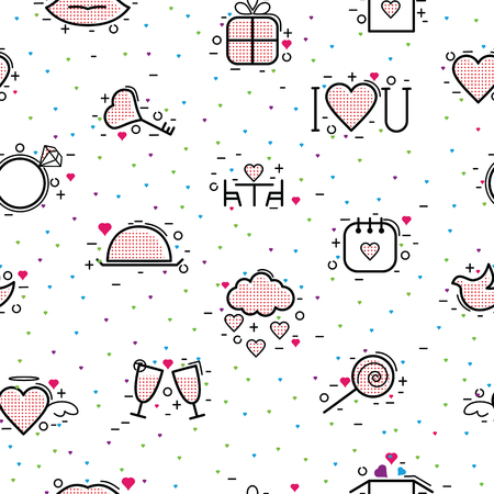 Valentines day icons vector heart in love and lovely red sign on hearted celebration and greeting card with loving and heartiness set illustration seamless pattern background.
