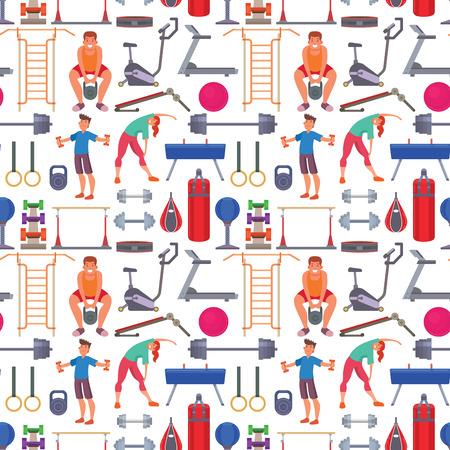 Fitness gym sporty club athlet and sport activity body tools wellness dumbbell track gymnastics active health lifestyle equipment seamless pattern background.