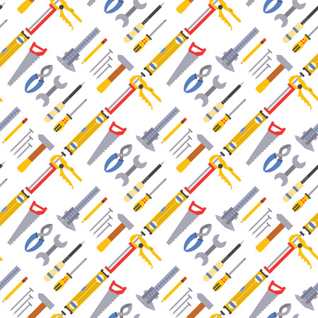 Construction worker equipment seamless pattern background. House renovation handyman tools carpentry industry vector illustration. Carpenter industrial build job wrench repair working.