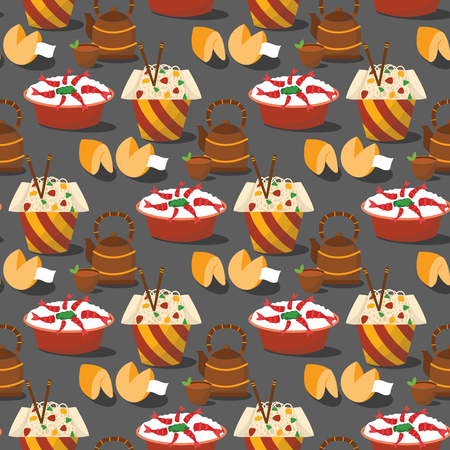 Chinese tradition food dish dumpling delicious cuisine healthy dinner meal asia gourmet china lunch breakfast cooked vector illustration. Spicy meat plate dish seamless pattern background. 向量圖像