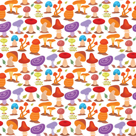 Mushrooms fungus agaric toadstool different art style design fungi vector illustration red hat seamless pattern background. Harvest cooking healthy vegetarian plant forest illustration.