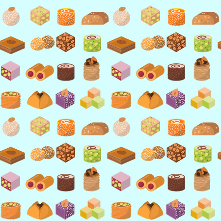 Sweets east delicious dessert food vector confectionery homemade assortment chocolate cake tasty bakery sweetness delights illustration. Delightful bake homemade snack seamless pattern background. Stock Vector - 114956612