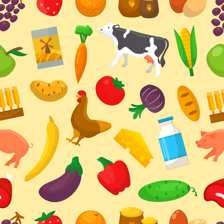 Organic food vector farming or gardening infographic with farmer or gardener character and farms natural products illustration set of healthy fruits or vegetables seamless pattern background.