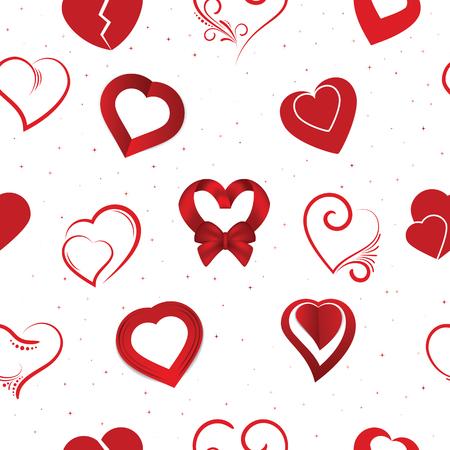 Hart op Valentijnsdag verliefd vector mooie rode teken op hartige viering en wenskaart met liefdevol en hartelijkheid instellen illustratie naadloze patroon achtergrond. Vector Illustratie