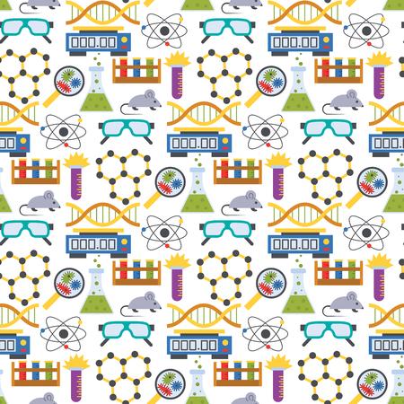 Lab symbols test medical laboratory scientific biology design molecule biotechnology science chemistry seamless pattern background vector illustration. Stock Photo