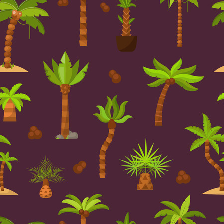 Palma vector palmaceous tropical tree with coconut or green exotic leafs and palmetto on tropic beach illustration palmy set seamless pattern background Banco de Imagens