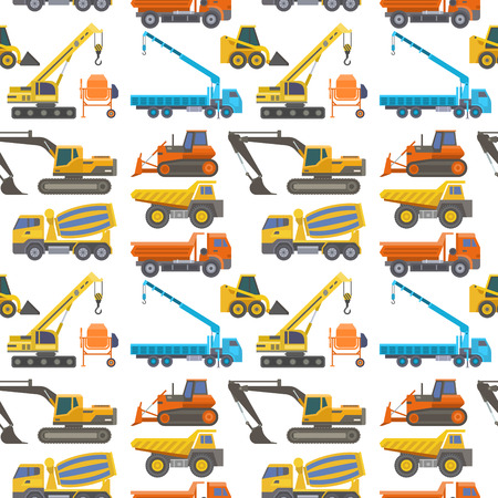 Construction delivery truck vector transportation vehicle construct and road trucking machine equipment large platform industrial truck seamless pattern background illustration.