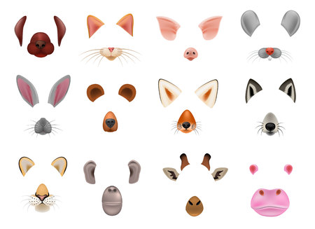 Animal mask vector animalistic masking face of wild characters bear wolf rabbit and cat or dog on masquerade illustration set of carnival masked costume monkey masquer isolated on white background. Stock Vector - 104984913