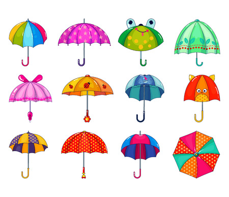 Kids umbrella vector childish umbrella-shaped rainy protection open and children dotted parasol illustration set of childly protective cover isolated on white background.