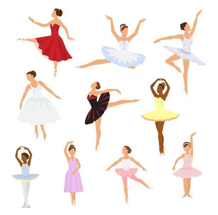 Ballet dancer vector ballerina woman character dancing in ballet-skirt tutu illustration set of classical ballet-dancer girl isolated on white background. 일러스트