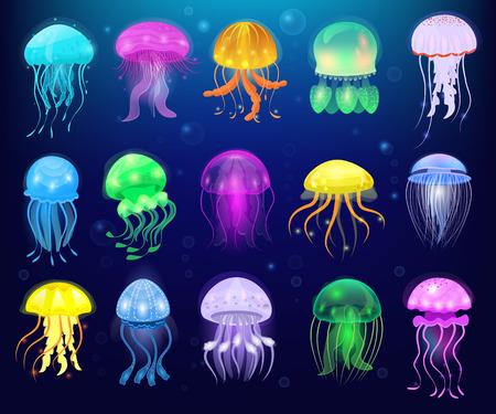Vector de medusas medusas oceánicas o medusas marinas y ortigas submarinas o medusas conjunto de ilustración de medusa exótica gelatinosa brillante o peces en el mar aislado sobre fondo Ilustración de vector
