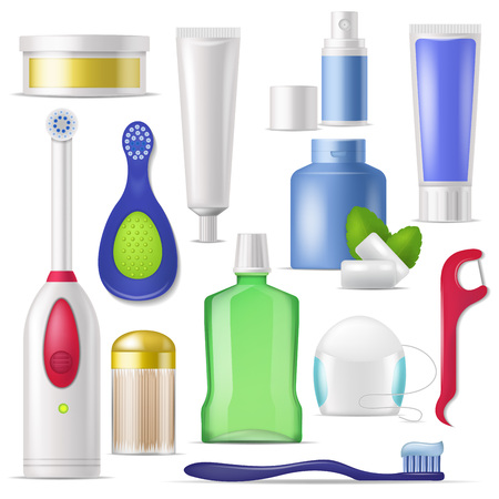 Dental hygiene vector toothbrush and toothpaste with mouthwash for cleaning teeth illustration dentistry set of dental-floss or toothpick isolated on white background