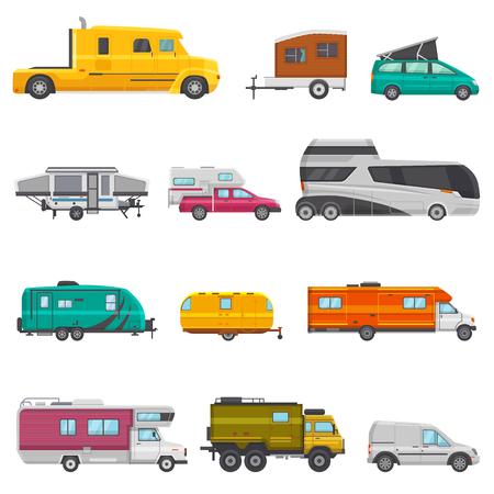 Caravan-Vektor-Camping-Anhänger und Wohnmobil-Caravaning-Fahrzeug für Reisen oder Reiseillustration transportabler Satz von Campingwagen oder Tourismustransport isoliert auf weißem Hintergrund.