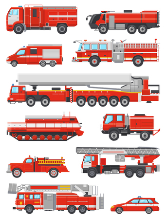Fire engine vector firefighting emergency vehicle or red firetruck with firehose and ladder illustration set of firefighters car or fire-engine transport isolated on white background. Vettoriali