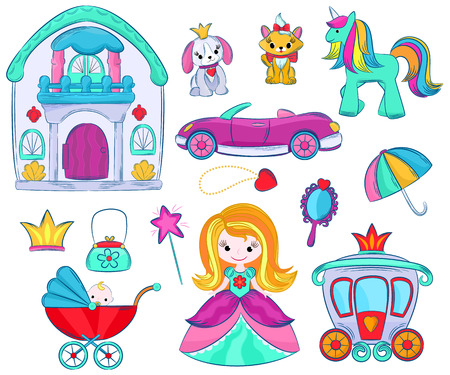 Kids toys vector cartoon girlie games for children in playroom and playing with childish car or girlish doll stroller and princess illustration set of unicorn or dog isolated on white background. Stock Illustratie