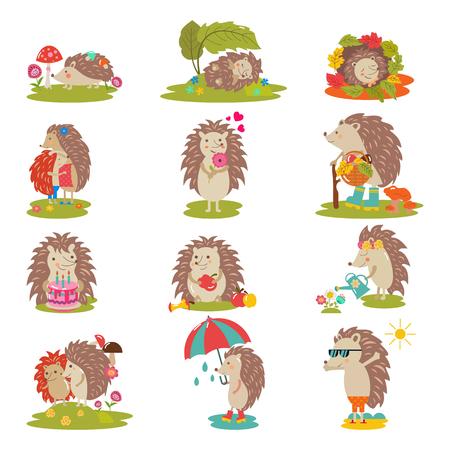 Hérisson vector cartoon caractère animal épineux enfant avec coeur d'amour dans la nature illustration de la faune ensemble de hérisson-tenrec dormant ou jouant dans la forêt isolé sur fond blanc. Vecteurs