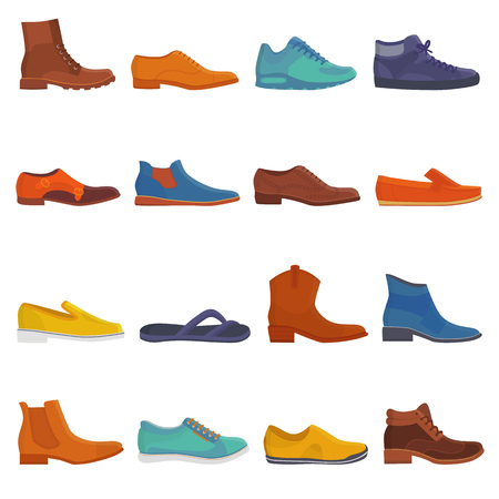 Man shoe vector male boots and classic leather footwear or fashion footgear or bootee for men illustration set of manlike foot-gear shoes with shoelace in shoeshop isolated on white background. Çizim