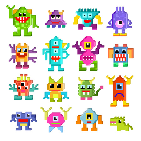 Monster alien vector cartoon pixel monstrous character of monstrosity and alienation illustration monstrously set of cute alienated pixy creature on halloween for kids isolated on white background. Banco de Imagens - 114784824