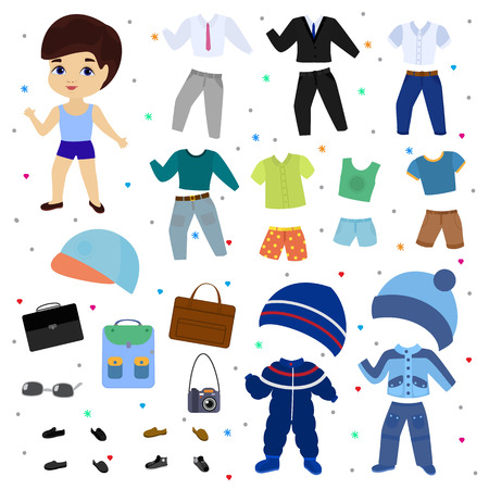 Paper doll vector boy dress up clothing with fashion pants or shoes illustration boyish set of male clothes for cutting cap or T-short isolated on white background. Stockfoto - 114784825