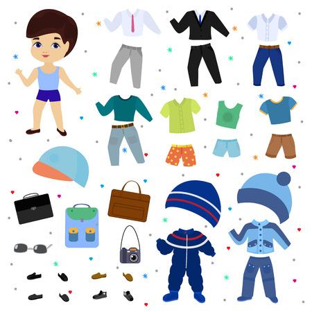Papierpuppenvektorjunge verkleiden sich Kleidung mit Modehosen oder Schuhen Illustration jungenhafter Satz männlicher Kleidung zum Schneiden von Mütze oder T-Short isoliert auf weißem Hintergrund.