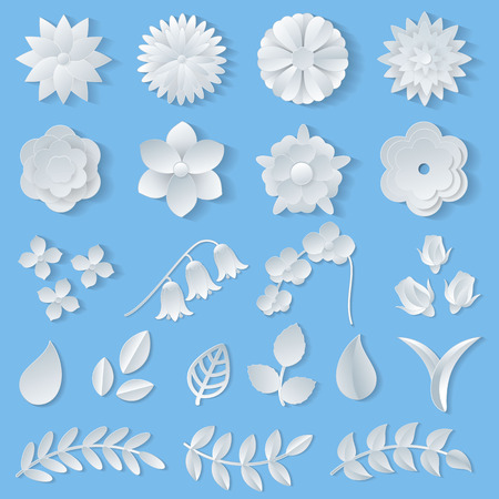 Paper flowers vector floral wedding decoration or flowered greeting card decor for flowering invitation or wallpaper illustration flowery set of beautiful flora leaves isolated on background.
