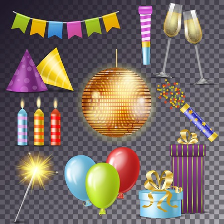 Birthday party vector cartoon happy birth celebration with gifts or balloons on anniversary set of discoball or candle and new year sparkler illustration isolated on transparent background.