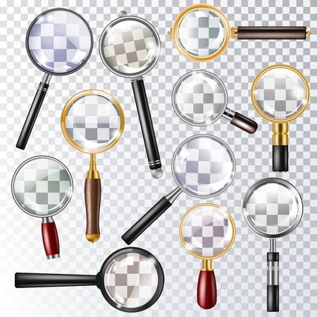Magnifying glass vector magnification zoom or search and magnify research lens icon illustration set of magnified scientific exploration sign isolated on transparent background Stock Illustration - 105327384