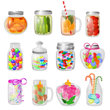 Glass jar vector jam or sweet jelly in mason glassware with lid or cover for canning and preserving illustration glassful set of cuppingglass with conservation isolated on white background. 일러스트