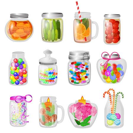 Szklany słoik wektor dżem lub słodka galaretka w szklanych naczyniach mason z pokrywką lub pokrywką do konserwowania i konserwowania ilustracji szklany zestaw bańki z konserwacją na białym tle.