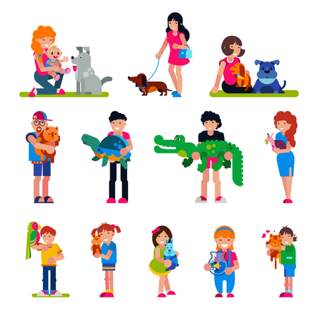 People with pet vector woman or man and children playing or hugging with animal character cat dog or puppy illustration set of person girl or boy with turtle or crocodile isolated on white background.