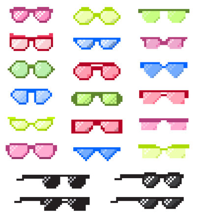 Glasses pixel with eyes vector cartoon eyeglass frame or sunglasses and accessories fashion optical framing spectacles eyesight view illustration pixelization set isolated on white background. Çizim