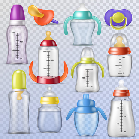 Baby bottle vector kids plastic container with milk or bottled liquid for drinking and child nipple or infant dummy illustration childish set of sterile pacifier isolated on transparent background. Foto de archivo - 105206009