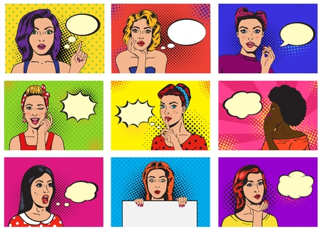 Comic woman vector popart cartoon girl character speaking bubble speech or comicgirl illustration female set of beautiful lady pinup with pretty face in fashion style on background Ilustrace