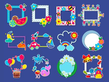 Cadre pour enfants image de cadrage enfantine vectorielle ou photo d'enfant sur le mur pour la décoration de la chambre de bébé ensemble d'illustrations de bordure décorative avec des jouets ou des ballons pour la photographie d'anniversaire isolé sur fond.