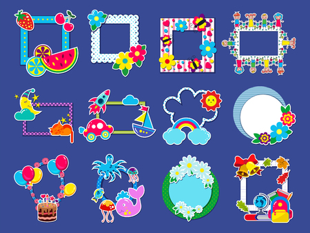 Kids frame vector childish framing picture or child photo on wall for decoration babyroom illustration set of decorative border with toys or balloons for birthday photography isolated on background.
