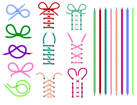Shoelaces vector shoestring or shoe-laces and fashion accessory for footwear or footgear illustration set of shoes strings knot or rope isolated on white background. Çizim