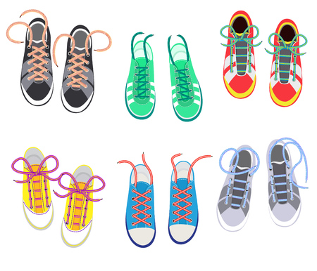 Shoelaces on snickers vector shoestring or shoe-laces and fashion accessory for footwear or footgear illustration set of shoes strings knot or ropeisolated on white background Stock Photo