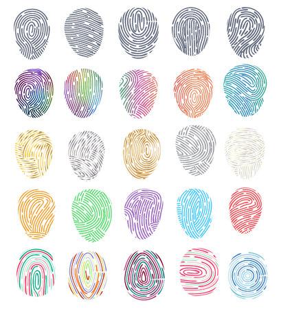 Identidad de huellas dactilares vectoriales de huellas dactilares con conjunto de ilustración de identificación de la yema del dedo de huella digital y huella digital de seguridad aislada sobre fondo blanco. Ilustración de vector